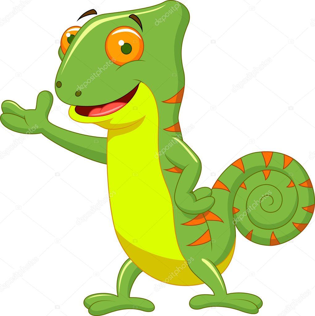 desenho bonito camaleão vetor de stock tigatelu 27382653