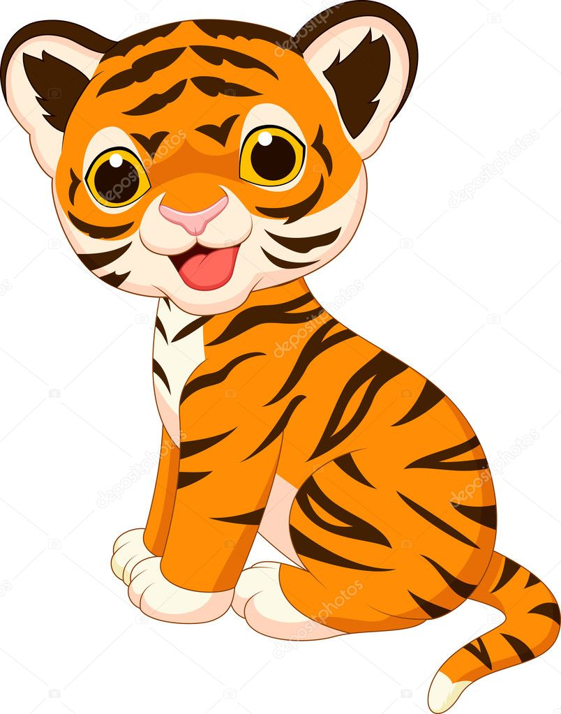 Cute baby tiger cartoon — Stock Vector © tigatelu #27382693