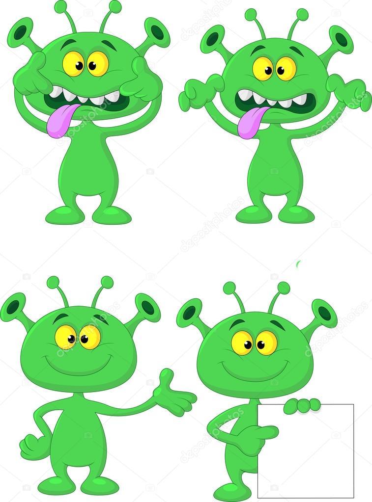 cute dibujos animados alienígena verde colección conjunto — Vector ...