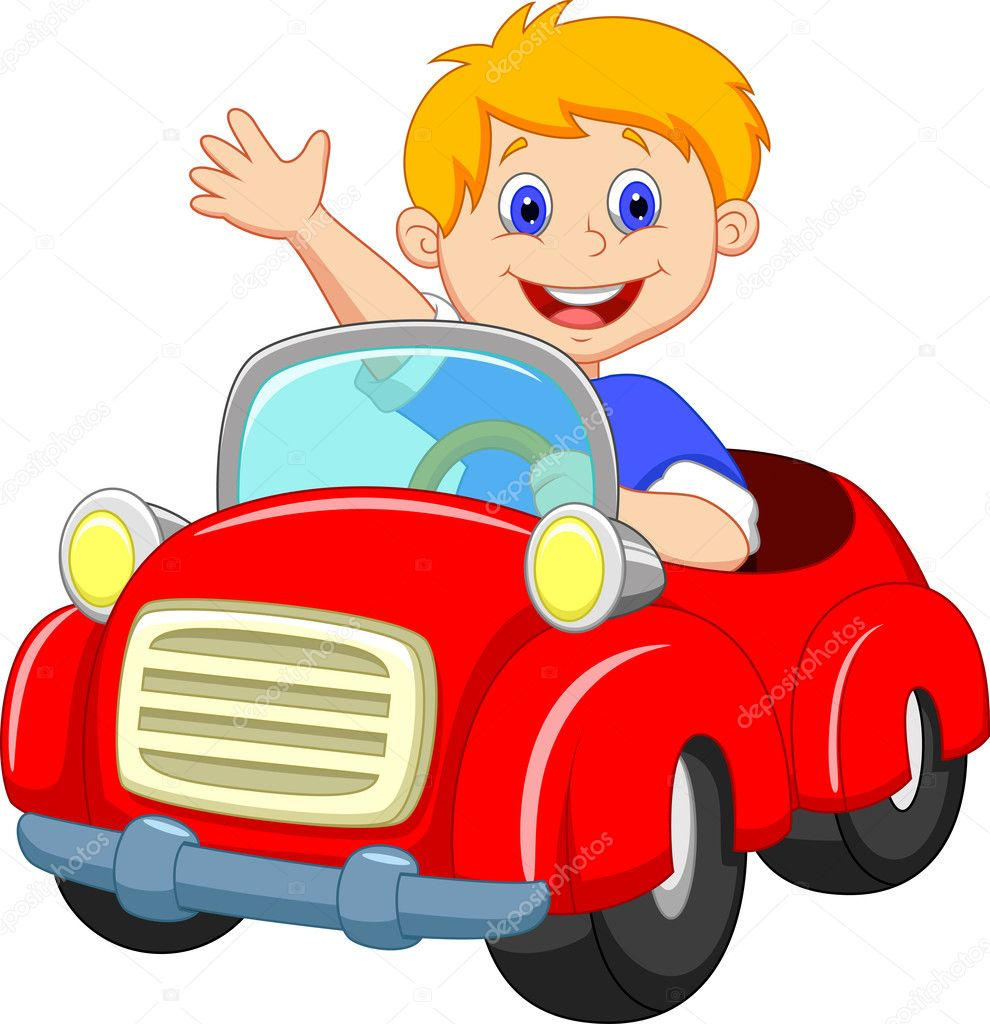 Young boy driving car