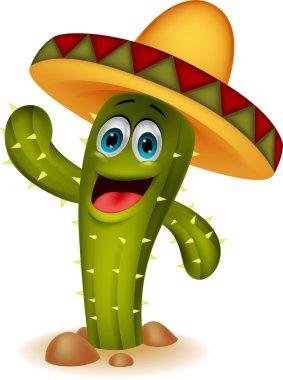 Cute cactus cartoon character