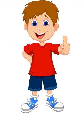 Cartoon boy giving you thumbs up stock vector