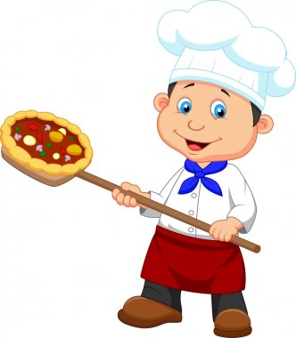 Little chef with pizza