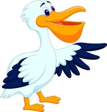 Pelican bird cartoon waving