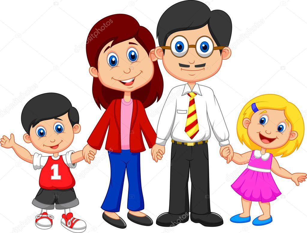 Dibujos Animados Familia Feliz Archivo Imágenes Vectoriales