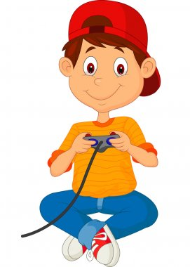 Child plays games on the joystick