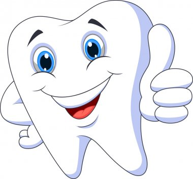 Cute tooth cartoon thumbs up