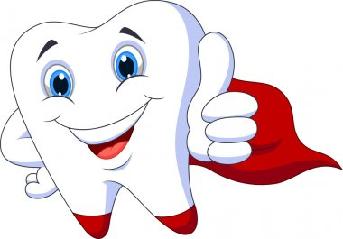 Cute tooth superhero cartoon showing thumb up