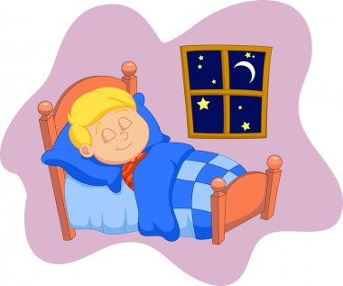The boy sleeps in the bedroom, vector