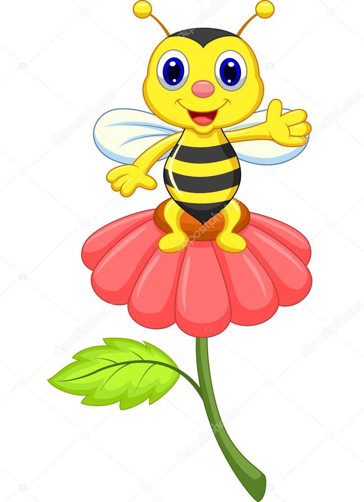 linda abejita en flor roja vector de stock  u00a9 tigatelu cute bee clip art outline cute bee clip art free