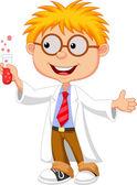 Fotografia illustrazione vettoriale del piccolo scienziato tenendo la provetta