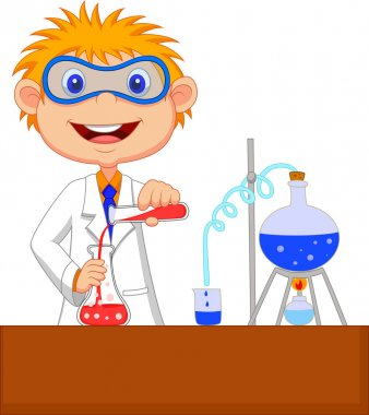 Boy Mixing Chemicals in a Laboratory