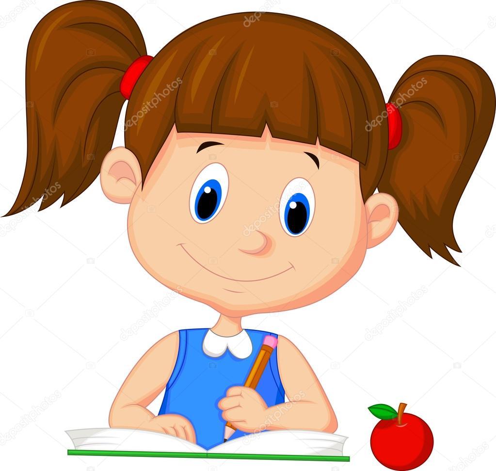 Animado Niño Estudiando Caricatura Libro De Lectura Chica De