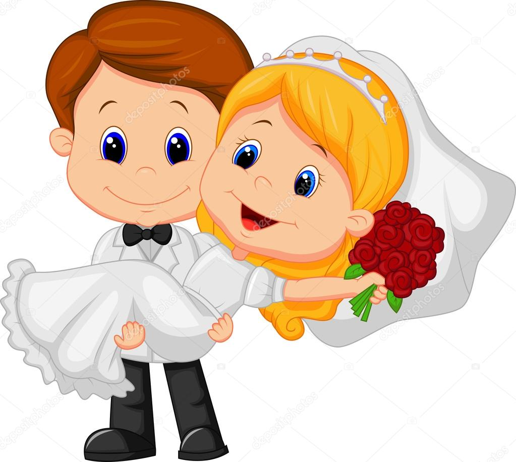 Cartone animato sposi — vettoriali stock tigatelu