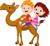 Boy and girl riding camel