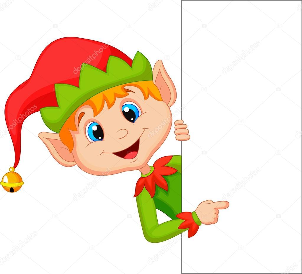 Cute Christmas elf pointing