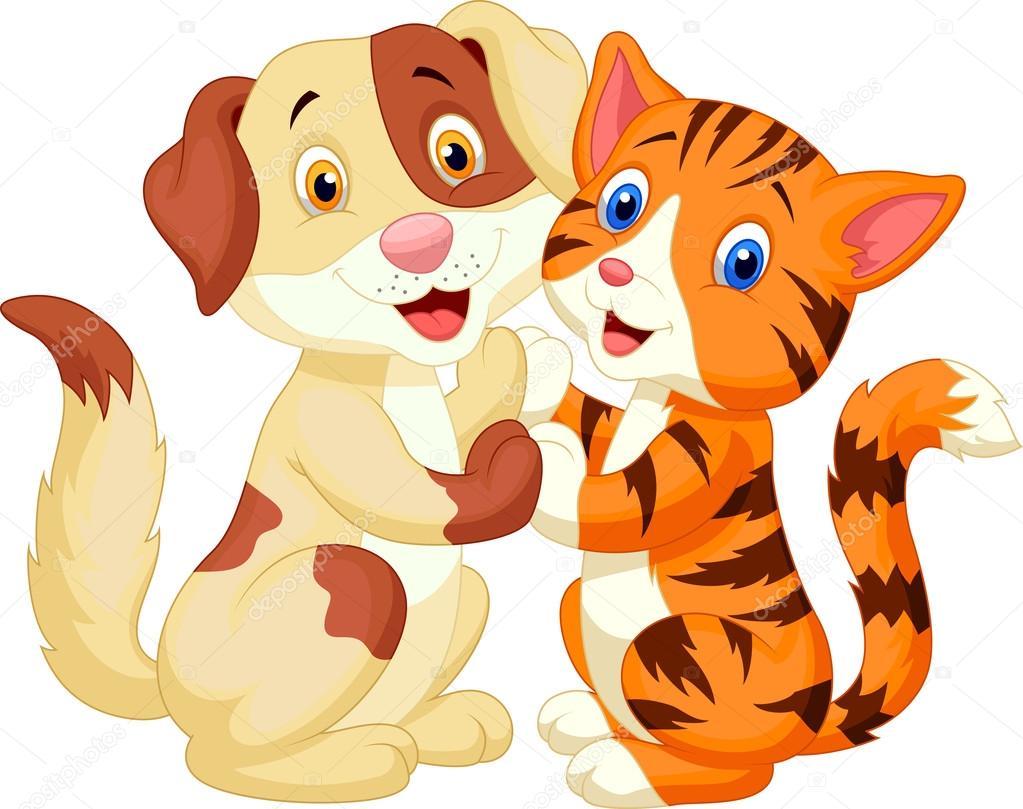 c4c4607b4f293 Perro y gato de dibujos animados lindo aislado sobre fondo blanco -  imágenes  dibujo de gato y perro — Vector de ...