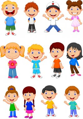 Cute children cartoon collection stock vector