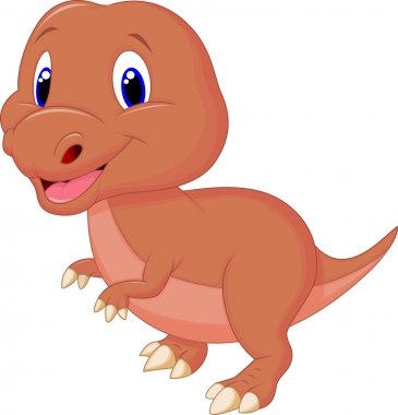 Cute dinosaur cartoon isolated on white background stock vector