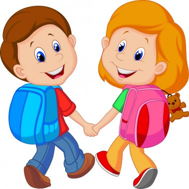 Boy and girl with backpacks