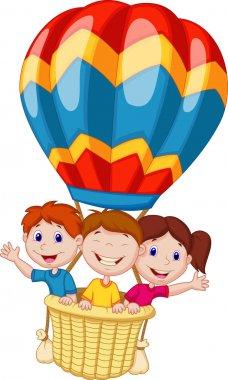 Happy kids riding a hot air balloon. Vector illustration stock vector