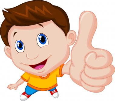 Little boy giving you thumbs up stock vector