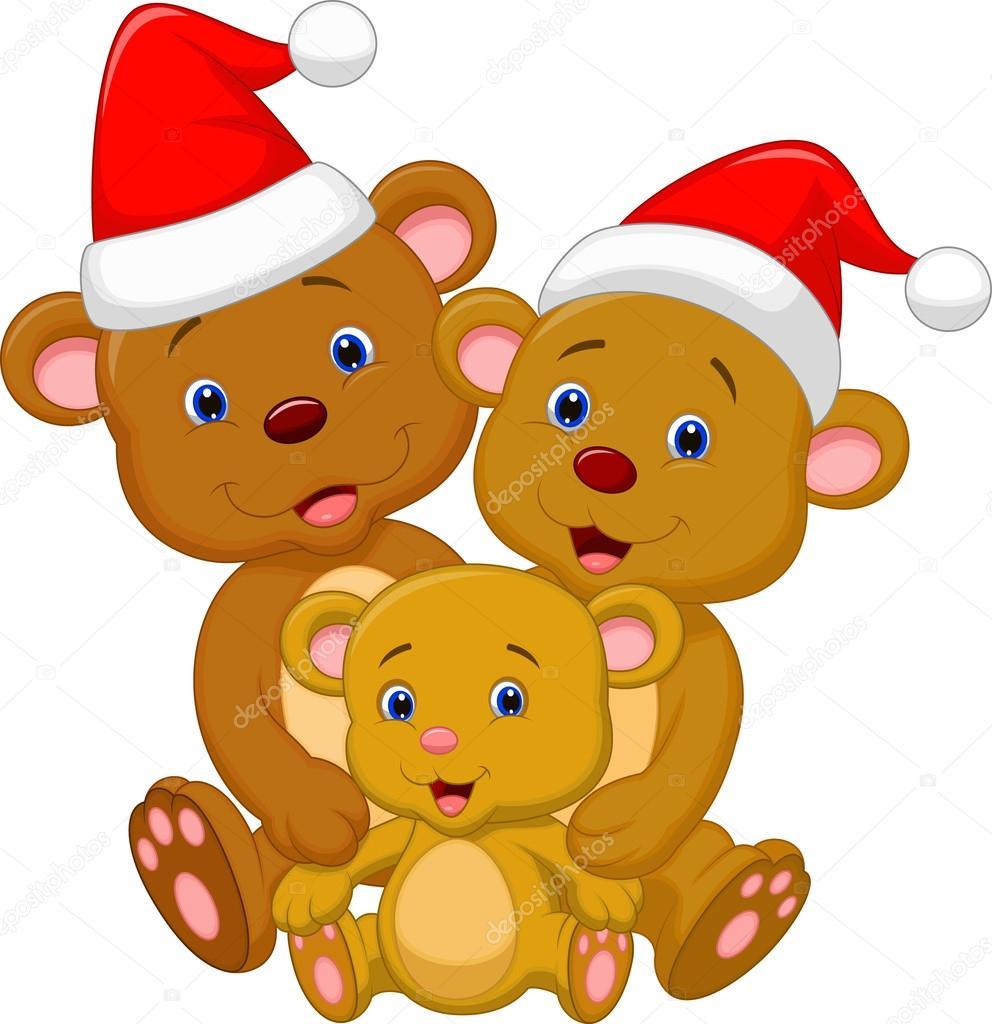 4cce76c997 Διάνυσμα απεικόνιση της ευτυχισμένο καφέ αρκούδα κινουμένων σχεδίων  οικογένεια φορώντας κόκκινο καπέλο — Διάνυσμα με ...