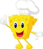 Fotografia chef simpatico cartone animato di formaggio rinunciando pollice