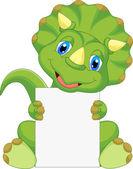 Fotografie Cute dinosaur cartoon holding blank sign