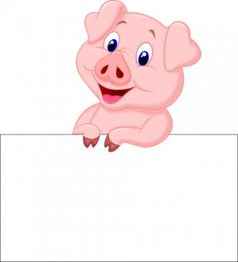 Cute pig cartoon with blank sign