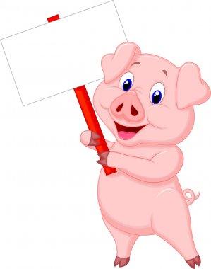 Cute pig cartoon with blank sign