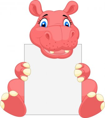 Cute hippo cartoon holding blank sign