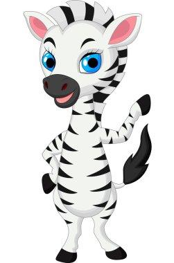Cute baby zebra cartoon waving