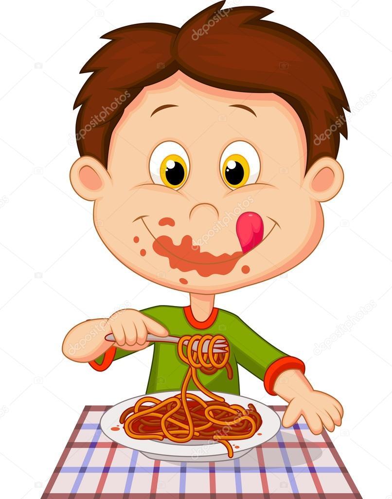 Niño Comiendo Espaguetis Archivo Imágenes Vectoriales Tigatelu
