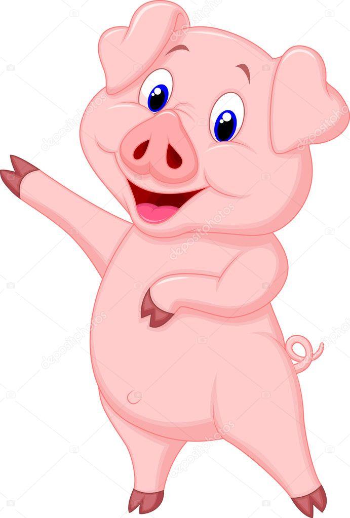 Cartone animato carino maiale — vettoriali stock