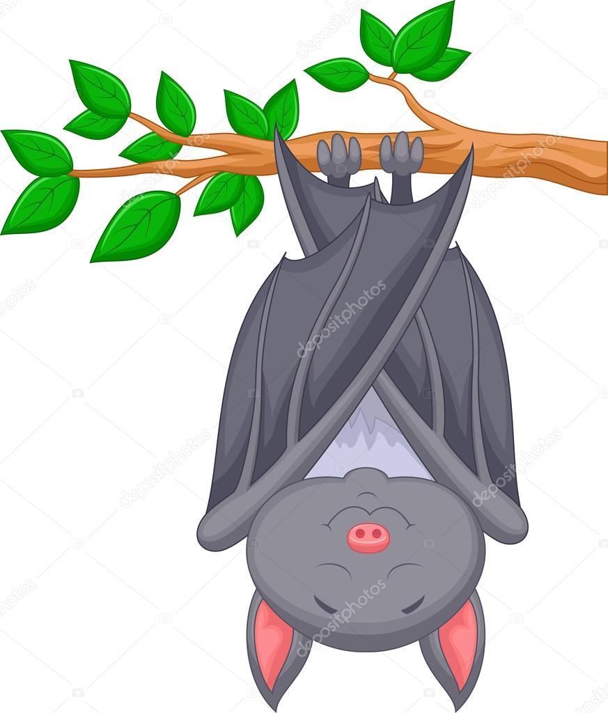 Pipistrello simpatico cartone animato dormendo