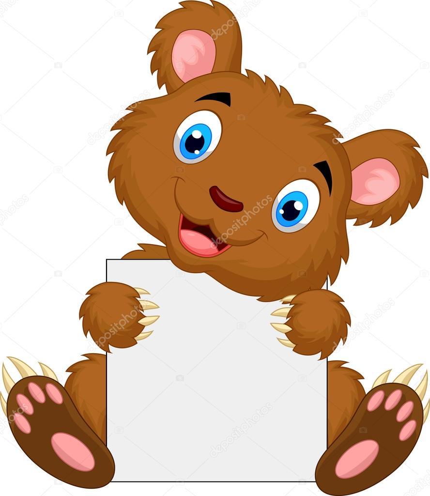 Cartone animato carino orso bruno con cartello bianco u vettoriali