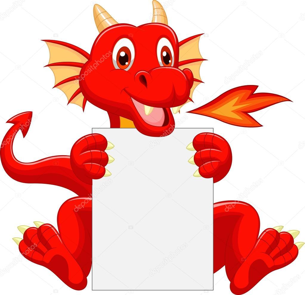 Süße Drachen Cartoon leere Schild — Stockvektor © tigatelu #35748347