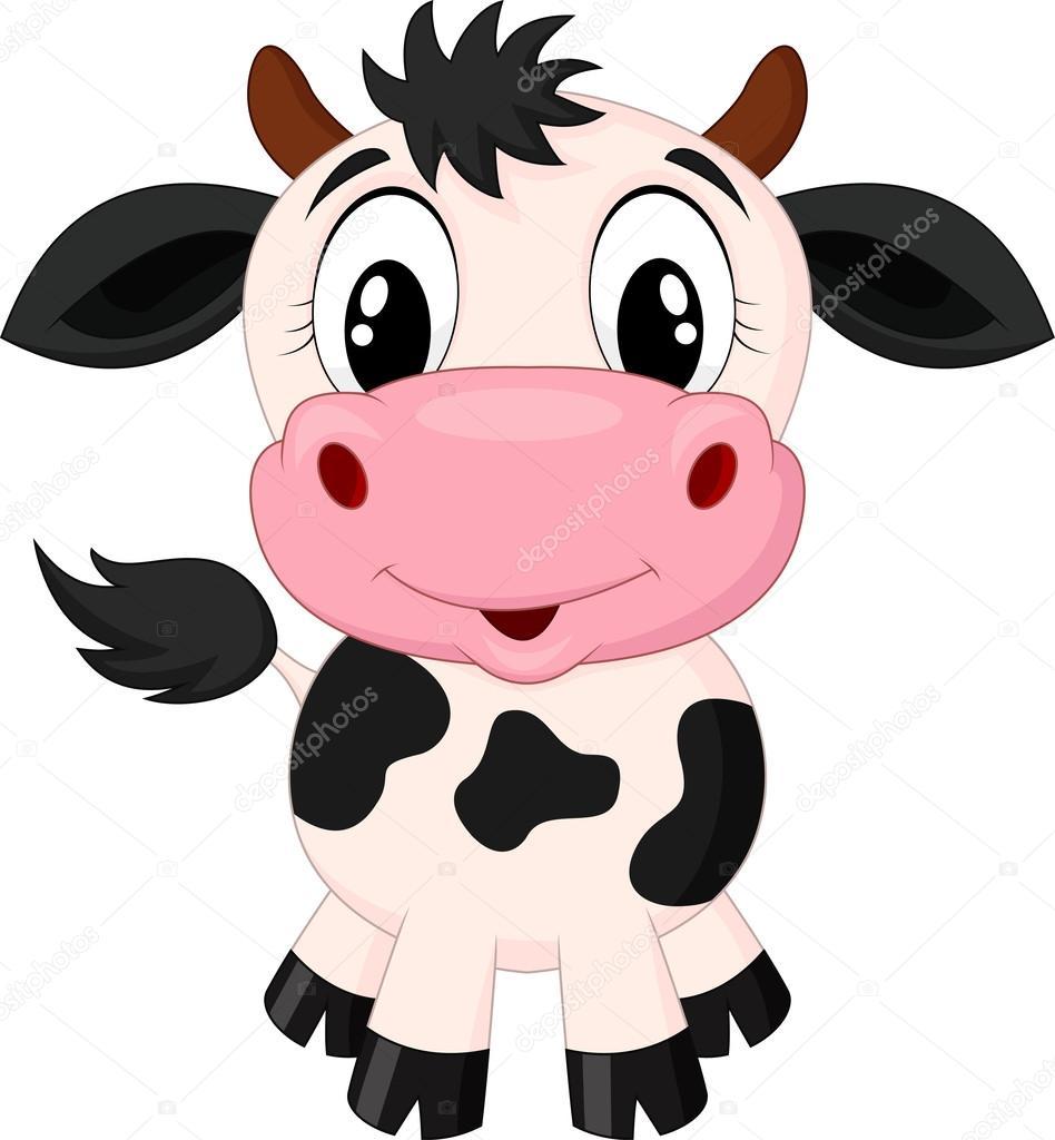 Animado Vaca En Dibujo Linda Vaca De Dibujos Animados Vector De