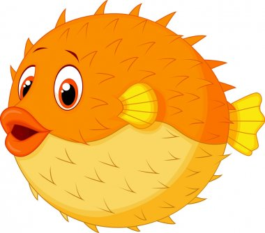 Puffer fish cartoon