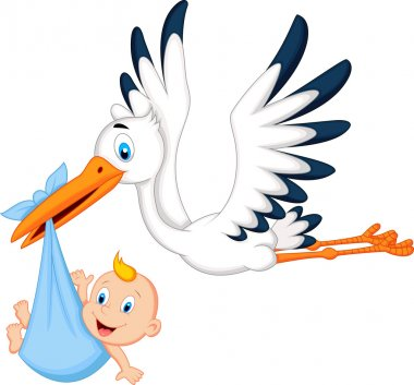 Stork carrying baby