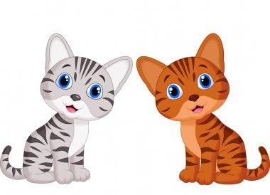 Cute two baby cat cartoon