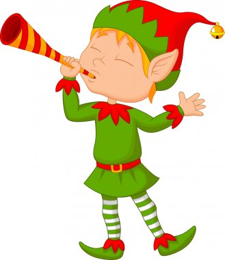 Elf cartoon blowing trumpet