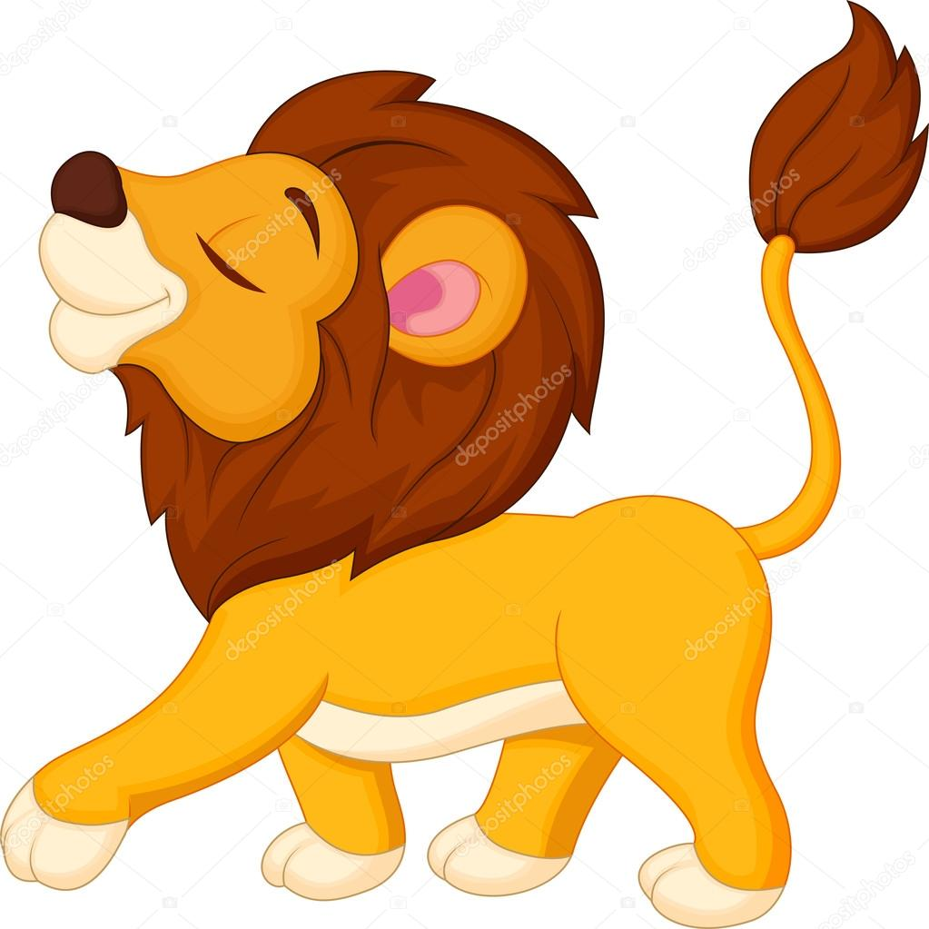 cute lion cartoon walking isolated on white vector by tigatelu