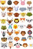 Fotografia cartone animato insieme testa animale