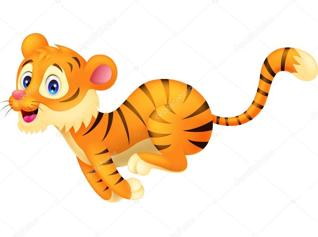 Cartone animato carino tigre in esecuzione — archivo