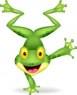 Funny frog cartoon standing on its hand