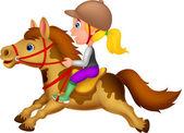 Kleines Mädchen reitet auf einem Pony