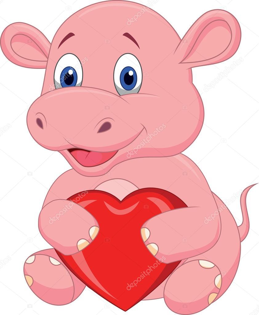 Hippo Cartoon Holding Red Heart