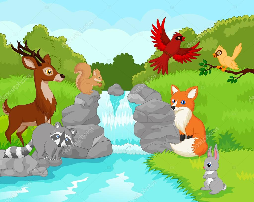 Waterfall with animals